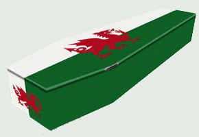 Special coffin with Welsh flag design